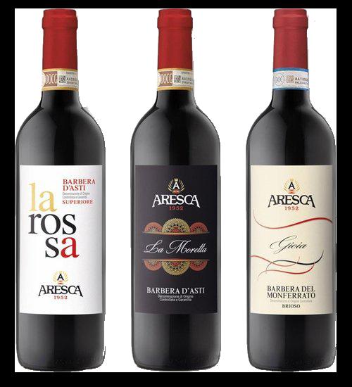 Aresca trio van Barbera flessen