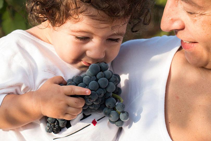 Kind ruikt aan blauwe druiven